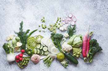 Plant-based raw food seasonal vegetables