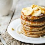 Plant based pancakes with banana slices